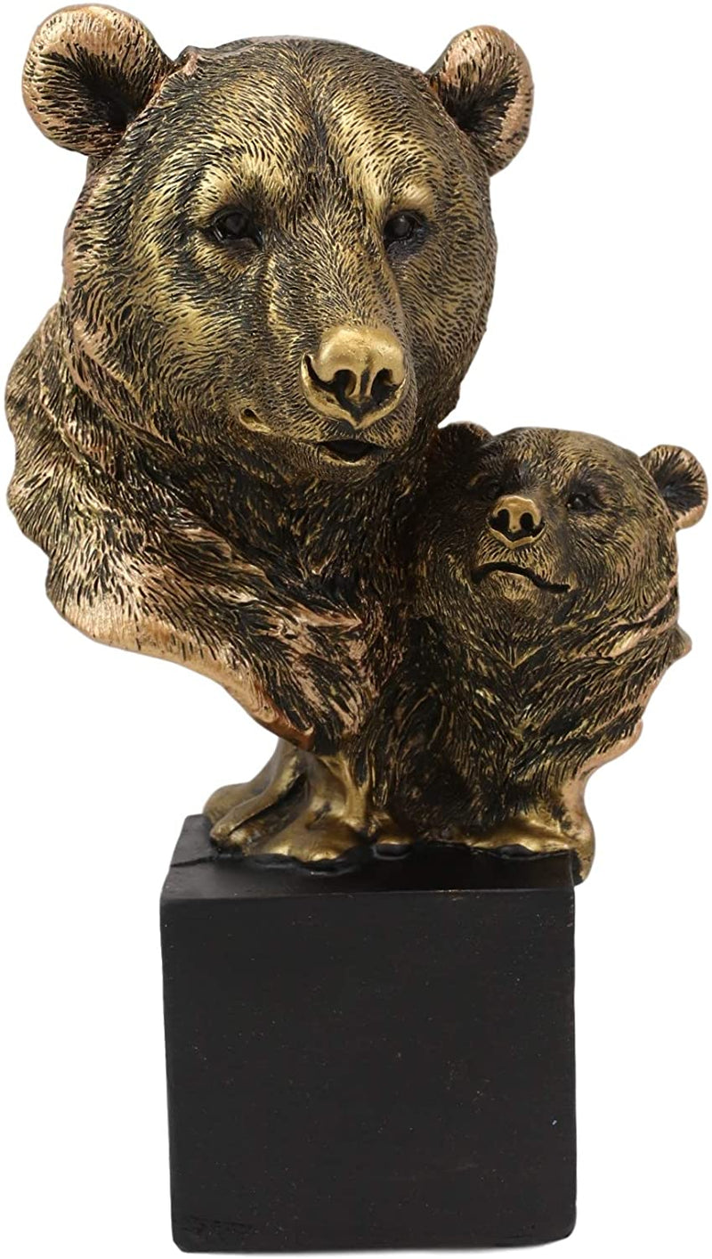 "Ebros Gift 6"" Tall Black Bear and Cub Head Bust Figurine with Black Pedestal"
