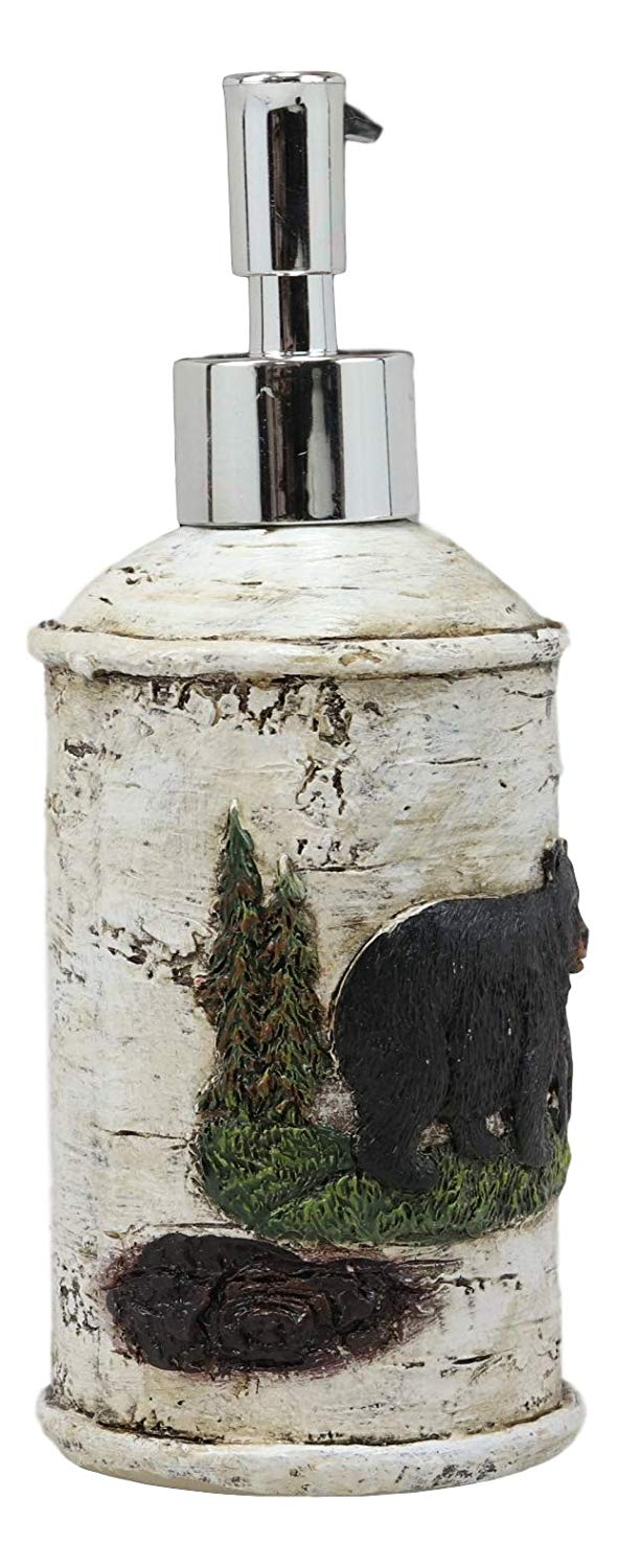 Ebros Wildlife Rustic Black Bear in Pine Trees Forest Bathroom Accent Resin Figurine Accessories with Birch Wood Finish Western Country Cabin Lodge Decorative (Liquid Soap Or Lotion Pump Dispenser)