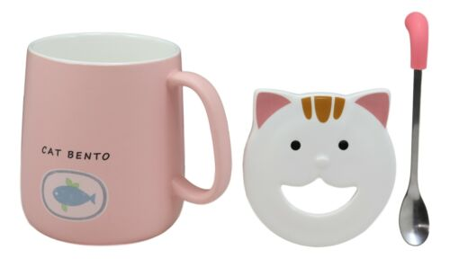 Set of 2 Pink & Green Drooling Cat Bento Porcelain Mug Cup With Spoon And Lid