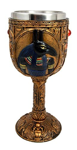 "Ebros Ancient Egyptian Seth Wine Goblet in Golden Hieroglyphic Design 6oz 7""H"