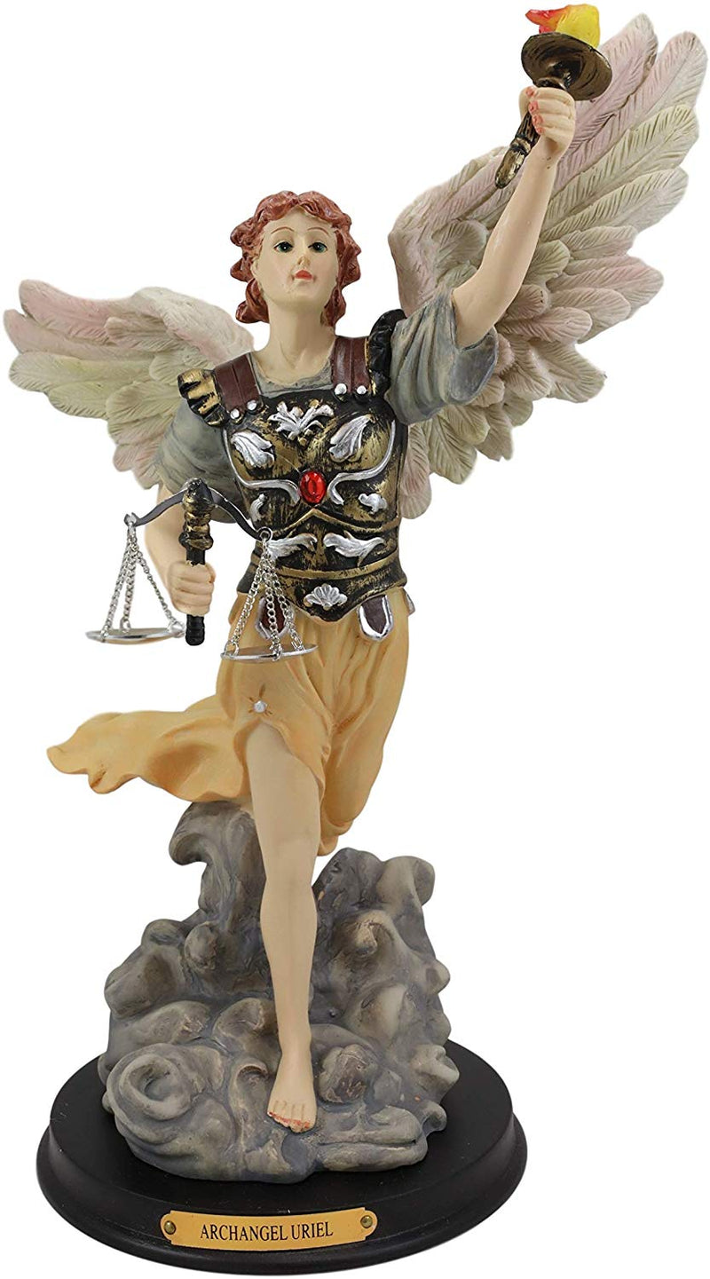 Ebros Byzantine Archangel Saint Uriel Statue with Brass Name Plate Wooden Base