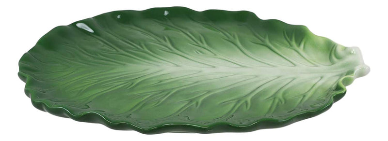 "Ebros Ceramic Iceberg Lettuce Leaf Serving Platter Dinner Plate Vegetable Accent Dish 10.75""Wide For Salads Veggies Fruits Entrees Kitchen Dining Essentials Accessory (1)"