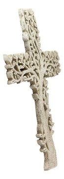 "Ebros Gift 12"" Tall Faux Stone Rustic Western Tree of Life Filigree Lace Design Wall Cross Decor Hanging Resin Sculpture Catholic Christian Country Cabin Lodge Accent Decorative Crosses"