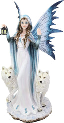 "Ebros White Frozen Lantern Fairy by 2 Arctic Snow Direwolves Statue 17.75"" Tall"