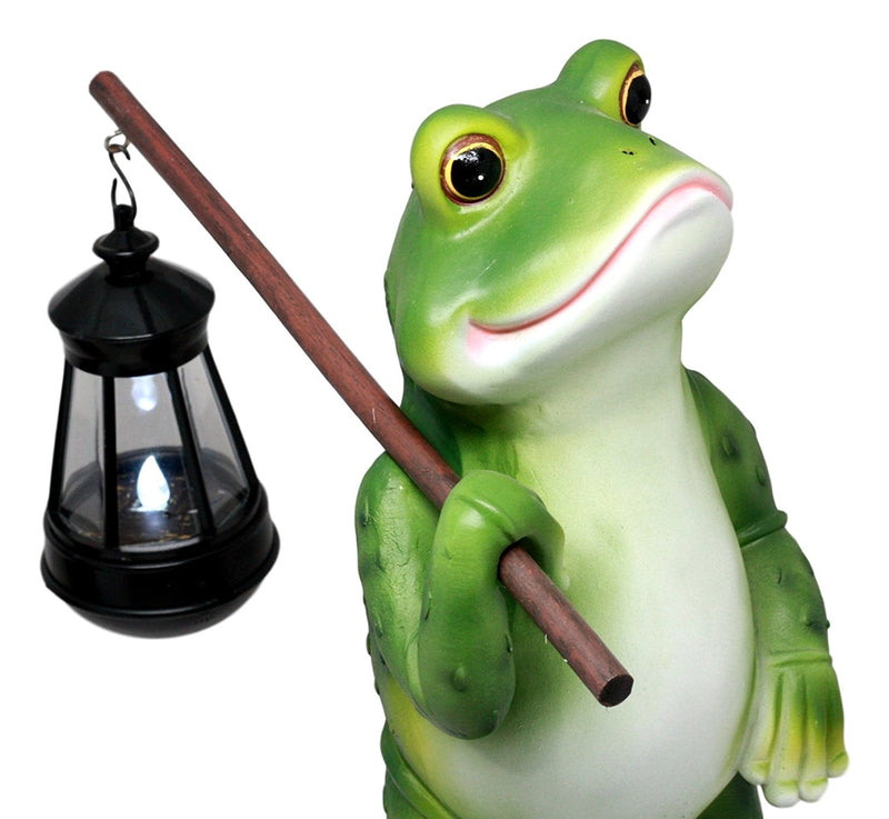 Ebros Blue Bayou Trails Hiking Frog Statue Holding Rod With Solar Powered Lantern LED Light Home Patio Decor Figurine
