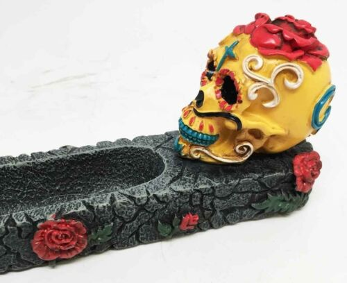 DIAS DE LOS MUERTOS DAY OF THE DEAD RED YELLOW SKULL INCENSE BURNER SCULPTURE