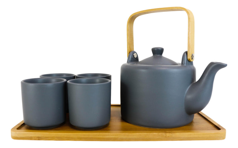 Matte Black Modern Ceramic 28oz Tea Pot With 4 Cups And Bamboo Serving Tray Set