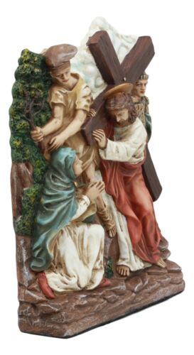 Ebros Christian Catholic Stations of The Cross Statue Way of The Sorrows Via Crucis Jesus Christ Path to Calvary Crucifixion Decor Figurine (Station 4 Jesus Meets his Mother)