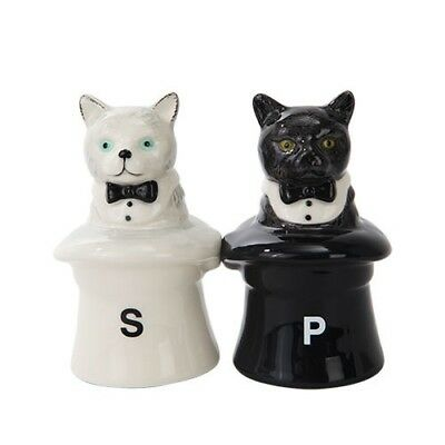 Ebros Cats In Hats Ceramic Magnetic Salt and Pepper Shakers Set