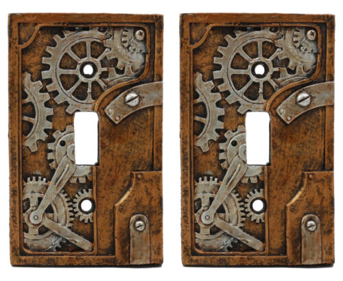 Ebros Steampunk Nautilus Clockwork Gearwork Design Wall Light Switch Plate Set