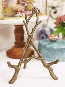 "Ebros Cast Iron Rustic Gold Intertwining Branch Twigs Easel Display Stand 9"" H"