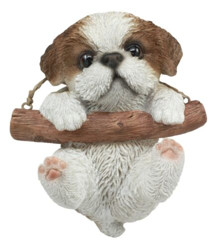 "Lifelike Teacup Shih Tzu Puppy Macrame Branch Hanger 5.25""Tall With Jute Strings"