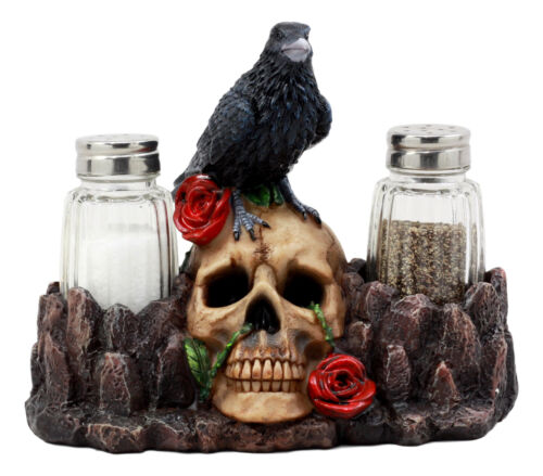 "Ebros Day Of The Dead Raven Crow With Rose Skull Salt & Pepper Shakers Holder Figurine Set 6.5""L"