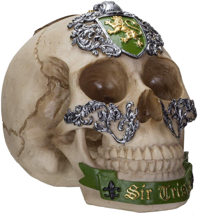 Ebros The Knights of The Round Table Skulls Sir Tristan Resin Skull Figurine