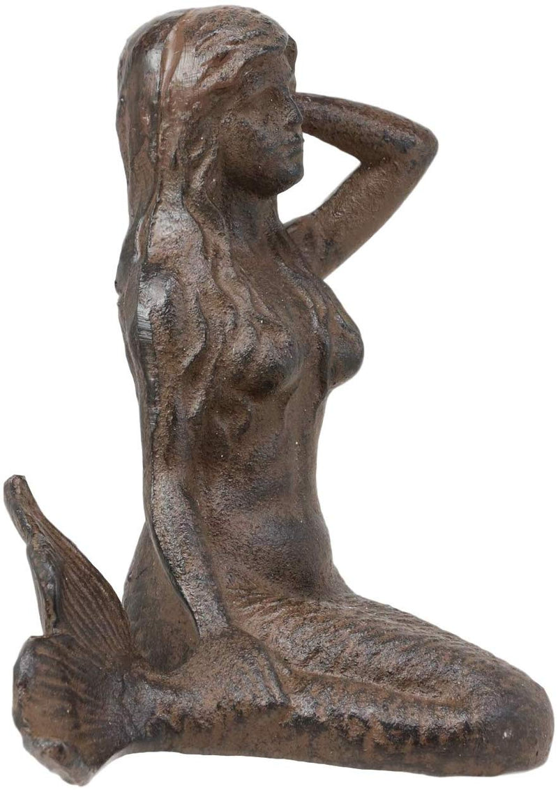 "Ebros Gift 7.25"" Wide Nautical Siren Expecting Mermaid Cast Iron Rustic Vintage Finish Statue Ocean Goddess Princess Coastal Beach Under The Sea Mermaids Decorative Accent"