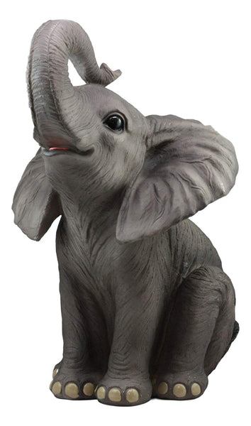 "Ebros Ruby The Elephant Sitting Pretty with Trunk Up Large Statue 17"" Tall Circus Carnival Elephants Fortune Feng Shui Good Luck Figurine Home Decor Sculpture"
