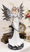 "Ebros Large 21"" Tall Winter Fairy with Baby Dragon Wyrmling Statue Fantasy Decor"