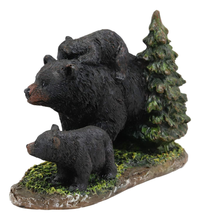 "Ebros 7.75"" Long Realistic Black Momma Bear Piggybacking Her Cub by A Pine Tree Statue Rustic Wildlife Forest Western Cabin Decor Bears Family Figurine"