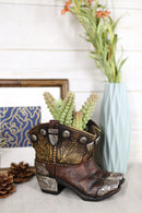 Rustic Western Cowboy Cowgirl Gold Tone Floral Boots Decorative Vase Pen Holder