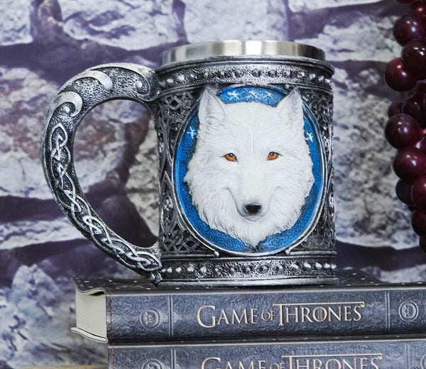 Ebros Large Celtic Alpha Direwolf White Snow Wolf 24oz Drinking Mug
