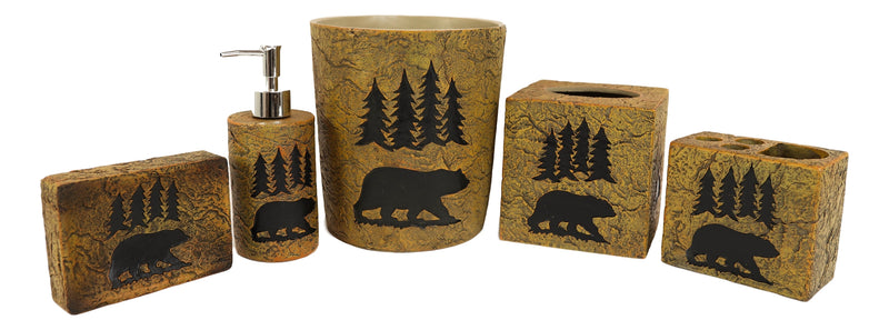 Ebros Rustic Black Bear Roaming Trees Bathroom Accent (5 Piece Bathroom Set)