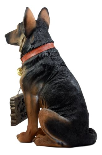 Faithful Collared German Shepherd Guard Dog Large Figurine Holding Sign Statue