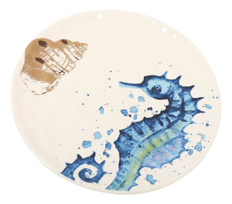 Nautical Marine Blue And White Seahorse Ceramic Salad Appetizer Plates 2 Pack