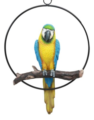 "Ebros Patio Home Garden Hanging Scarlet Macaw Parrot Perching on Branch in Metal Round Ring Figurine Sculpture Nature Lovers Tropical Bird Collectors Decor 13.5"" H (Blue)"