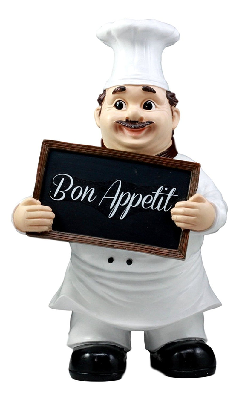 "Bon Appetit French Bistro Chef Pierre Holding Sign Kitchen Welcome Figurine 12""H"