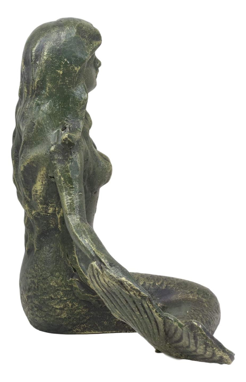 "Ebros Gift 11.5"" Tall Cast Iron Large Nautical Siren Mermaid Holding Starfish Vintage Statue Ocean Goddess Princess Coastal Beach Under The Sea Mermaids Decorative Accent (Verdigris Green)"
