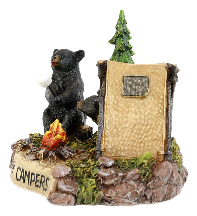 Happy Campers Rustic Black Bear And Cub Roasting Marshmallow By Bonfire Statue