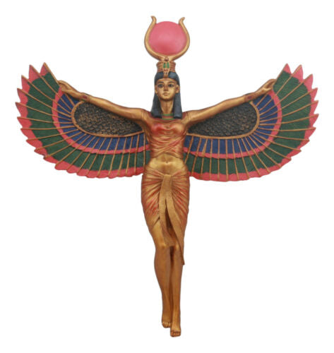Ancient Egyptian Goddess Isis With Open Wings Wall Decor Isis Ra Deity Plaque