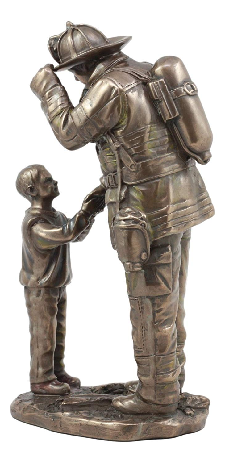Ebros Child Thanking Fireman Statue Civil Service Hero Freedom Rescue Fire Fighter Decorative Sculpture