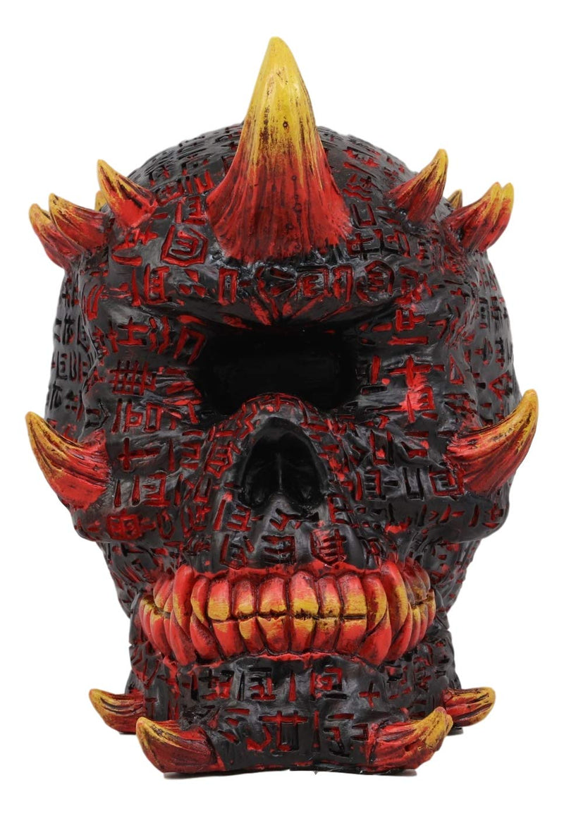 Ebros El Diablo Hell Inferno Fire Cyclops Skull Statue Greek One Eyed Demon with Horns Cranium Skulls Figurine Ossuary Spooky Gothic Halloween Graveyard Death Decor Figurines and Statues