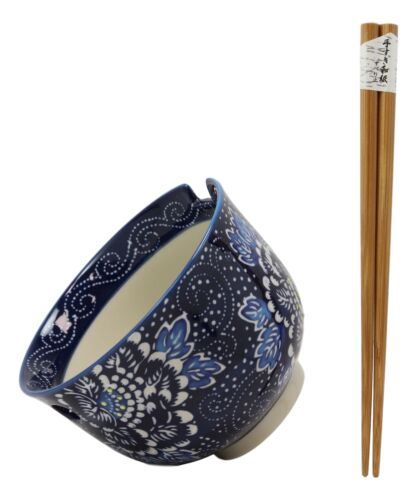 Shades Of Blue Daisy Floral Breeze Porcelain Ramen Soup Bowl With Chopsticks Set