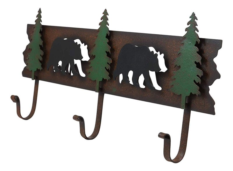 "Ebros Western Rustic 2 Roaming Black Bear Silhouettes And 3 Green Pine Trees 3-Peg Cast Iron Wall Hooks 20.25""Wide Hanger Coat Hat Keys Hook Decor Hanging Sculpture Plaque"