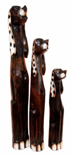 Balinese Wood Handicraft 3 Feet Large Polkadot Ears Canine Hound Dog Set Statue