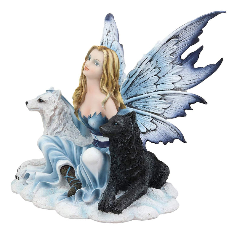 "Ebros Blue Frozen Fairy Embracing Black and White Direwolves Statue 9"" Long Fantasy FAE Pixie with Wolves in Snow Woodlands Tundra Scenery Figurine Decor of Wolf Timberwolf Fantasy Magic Nymph"