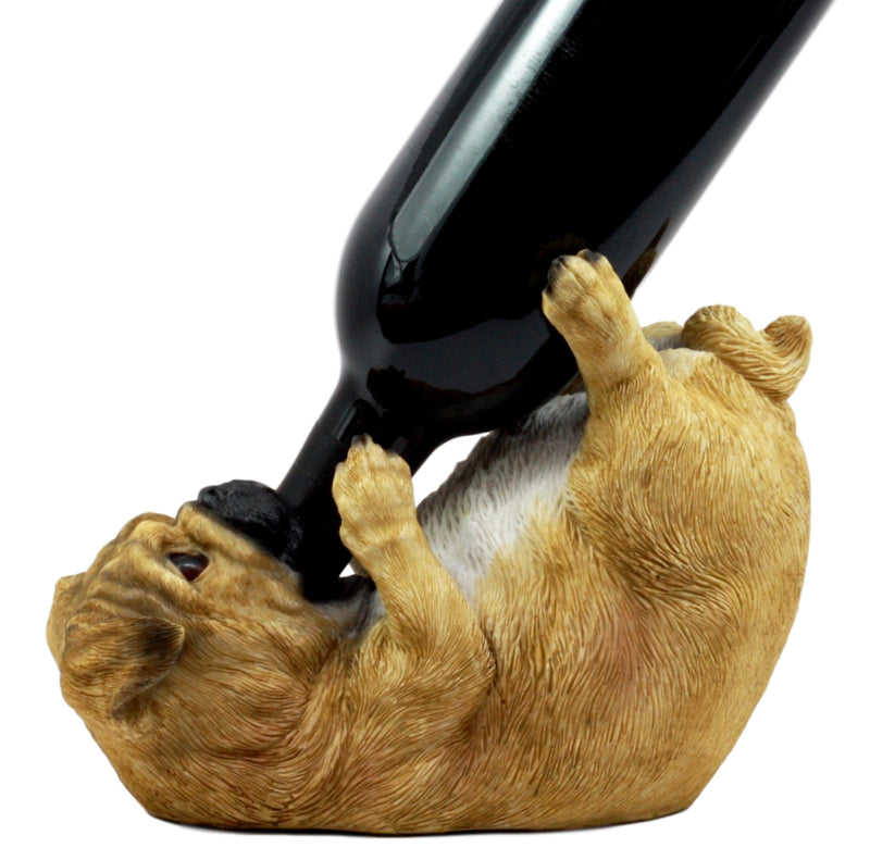 "Ebros Apricot Fawn Pug Wine Holder 8.25"" Long Canine Dog Wine Bottle Holder"