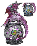 "Ebros Celtic Orb Purple Dragon LED Night Light Statue 8.25"" Tall"