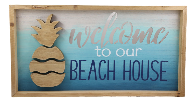 "Nautical Pineapple Waves Welcome To Our Beach House Wooden Wall Decor Sign 19""L"