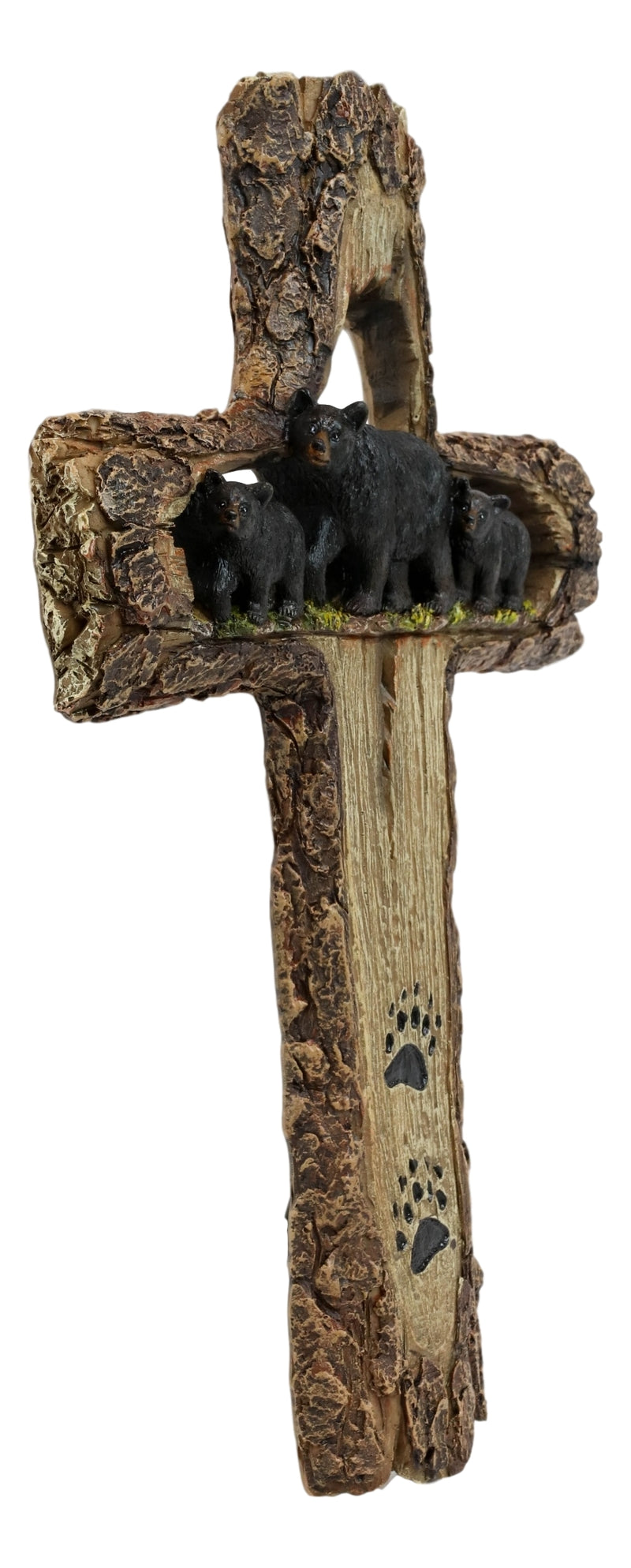 Rustic Western Black Bears Momma And Cubs On Bear Trail Wall Cross Decor Plaque