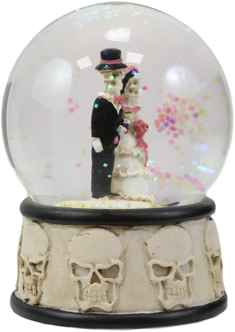 Ebros Day of The Dead Wedding Skeleton Bride and Groom Small Water Globe 65mm