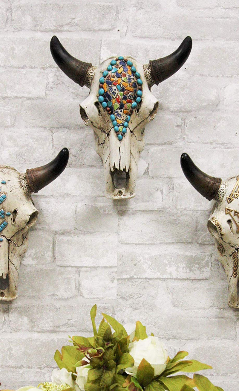 "Ebros 9"" Wide Western Southwest Steer Bison Buffalo Bull Cow Horned Skull Head Mural Mosaic Beads Design Wall Mount Decor"