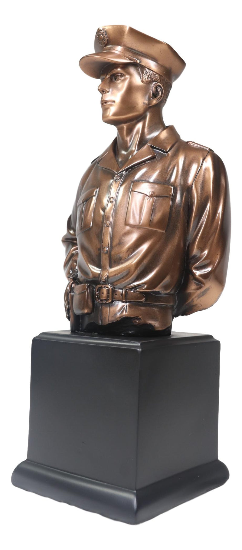 Police Man Officer Cop in Uniform Portrait Bust Electroplated Statue With Base
