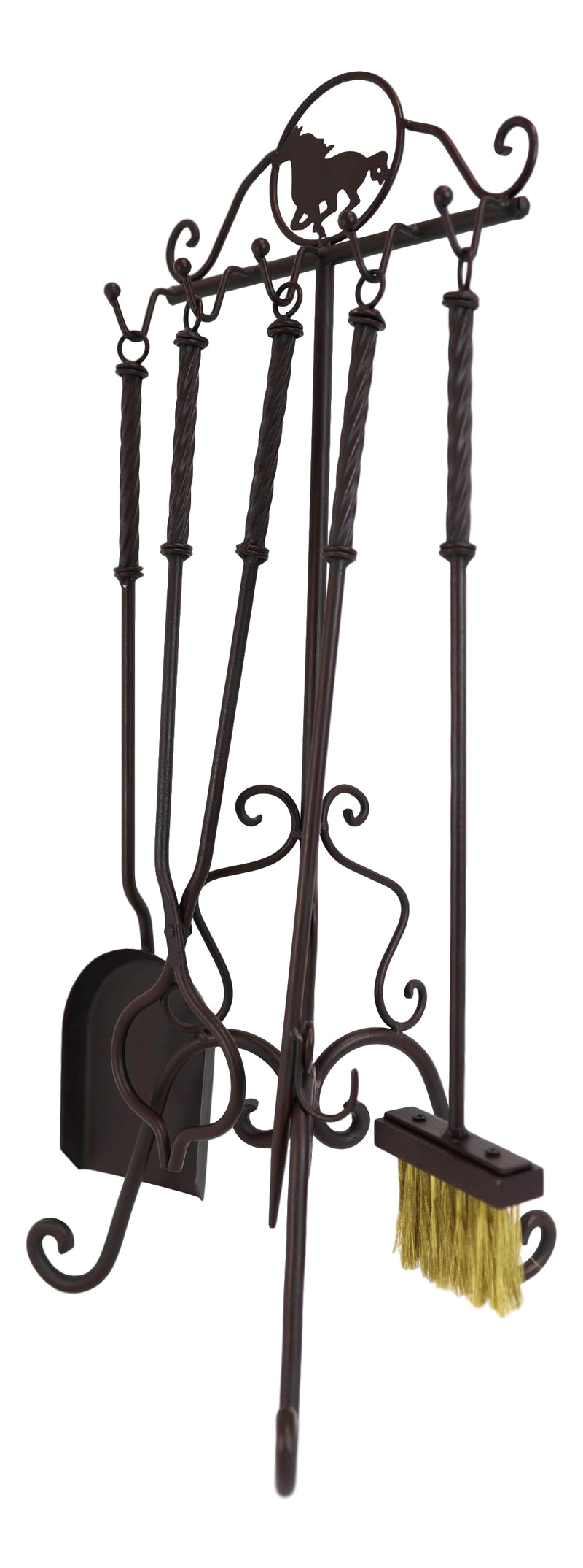 Wrought Iron Metal Western Rustic Galloping Equine Horse Fireplace Tool Kit 5 Piece Set Including Display Holder Stand Home Decor Living Room Patio Accent