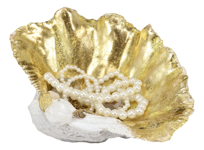 "10"" L Golden Nautical Giant Clam Shell Jewelry Dish Bowl Decor Holder Statue"