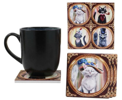Aristocrat Fancy Cats Coasters For Drinks Set of 4 Ceramic Tiles With Cork Back - Atlantic Collectibles
