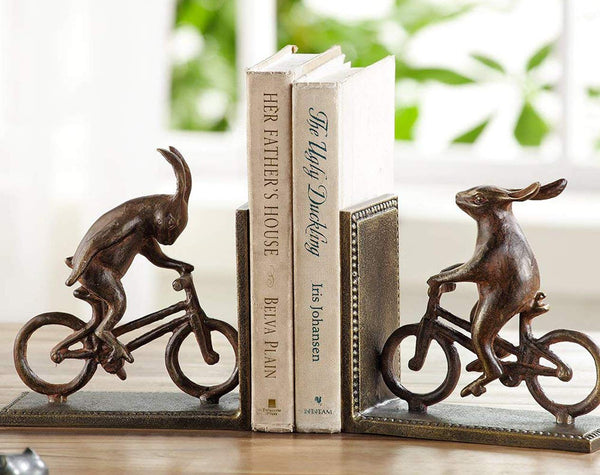 "Ebros Gift Cast Iron And Aluminum Metal Whimsical Rabbit Bunnies On Bikes Bookends 7.25""Tall Set Of 2 Abstract Bunny Rabbits Art Accent Statue Book Ends Pair Figurines Rustic Cottage Animal Fairy Tale"