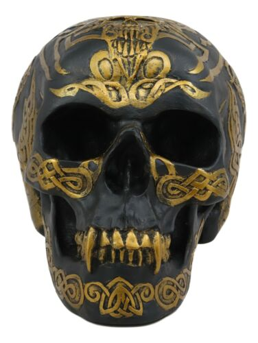 "Ebros Celtic Tribal Knotwork Tattoo Black Ghost Vampire Skull Statue 7""Long As Macabre Ossuary Decor Dracula Skeleton Cranium For Halloween"